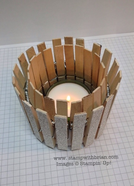 Earth Day Votive - Tuna can, clothes pins, Silver Glimmer Paper, candle votive