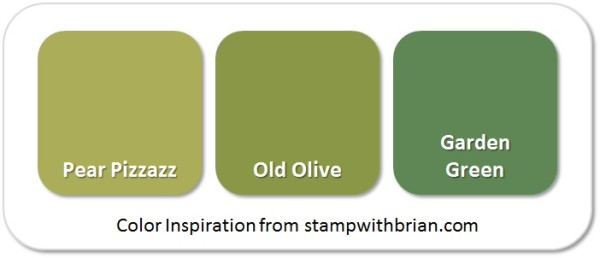 Stampin' Up! Color Inspiration: Pear Pizzazz, Old Olive, Garden Green
