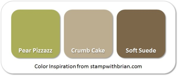 Stampin' Up! Color Inspiration: Pear Pizzazz, Crumb Cake, Soft Suede