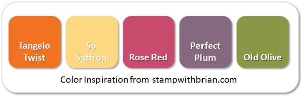 Stampin' Up! Color Inspiration: Tangelo Twist, So Saffron, Rose Red, Pefect Plum, Old Olive