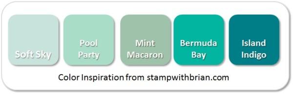Stampin' Up! Color Inspirtation: Soft Sky, Pool Party, Mint Macaron, Bermuda Bay, Island Indigo