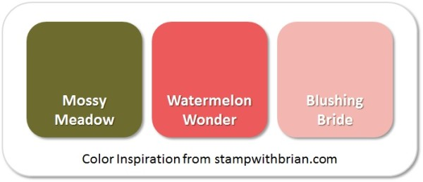 Stampin' Up! Color Inspiration: Mossy Meadow, Watermelon Wonder, Blushing Bride