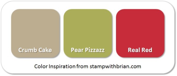 Stampin' Up! Color Inspiration (Caramel Apple): Crumb Cake, Pear Pizzazz, Real Red
