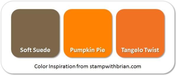 Stampin' Up! Color Inspiration (Pumpkin Spice): Soft Suede, Pumpkin Pie, Tangelo Twist