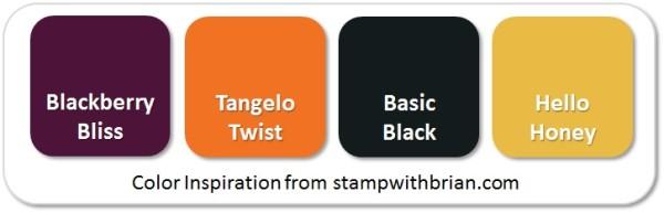 Stampin' Up! Color Inspiration: Blackberry Bliss, Tangelo Twist, Basic Black, Hello Honey