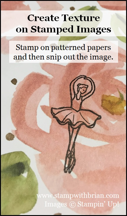 Create texture on a stamped image by stamping on a printed paper and snipping out, Stampin' Up!, Brian King
