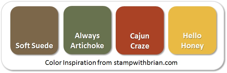 Stampin' Up! Color Inspiration: Soft Suede, Always Artichoke, Cajun Craze, Hello Honey