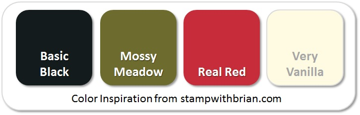 Stampin' Up! Color Inspiration: Basic Black, Mossy Meadow, Real Red, Very Vanilla