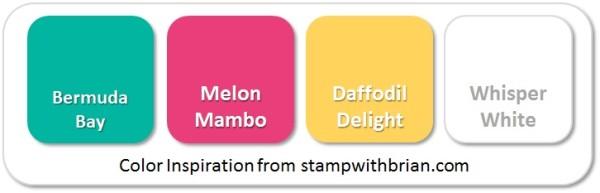 Stampin' Up! Color Inspiration: Bermuda Bay, Melon Mambo, Daffodil Delight, Whisper White