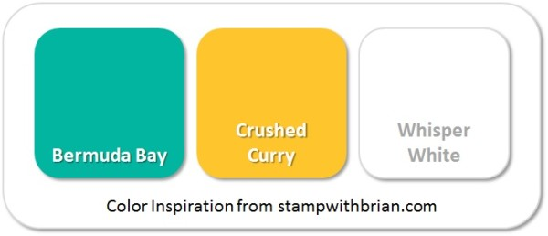 Stampin' Up! Color Inspiration: Bermuda Bay, Crushed Curry, Whisper White