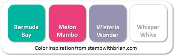 Stampin' Up! Color Inspiration: Bermuda Bay, Melon Mambo, Wisteria Wonder, Whisper White