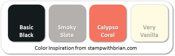 Stampin' Up! Color Inspiration: Basic Black, Smoky Slate, Calypso Coral, Very Vanilla