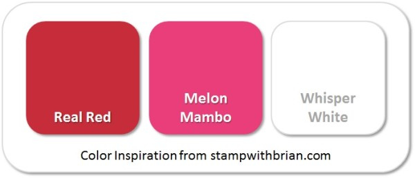 Stampin' Up! Color Inspiration: Real Red, Melon Mambo, Whisper White