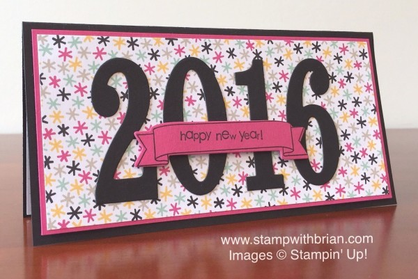 Teeny Tiny Wishes, Number of Years, Large Numbers Framelits Dies, It's My Party Designer Series Paper Stack, Stampin' Up!, Brian King, New Year's card