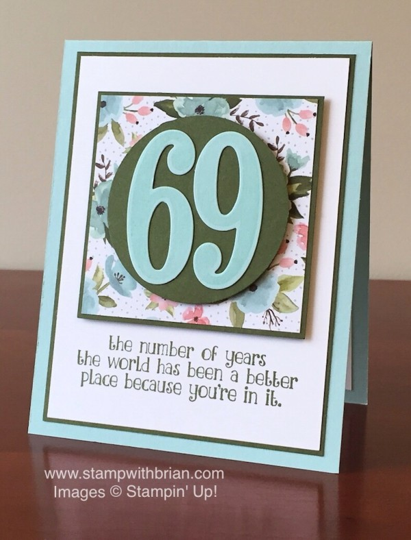 Number of Years, Large Numbers Framelits, Stampin' Up!, Brian King, birthday card