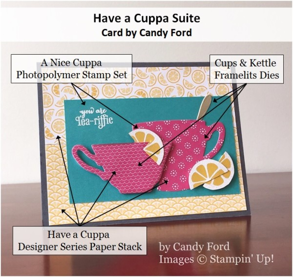 A Nice Cuppa, Cups & Kettles Framelits, Have a Cuppa Designer Series Paper Stack, Stampin' Up!, Candy Ford