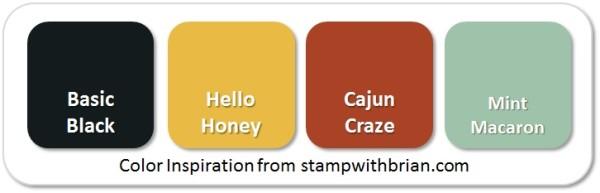 Stampin' Up! Color Inspiration: Basic Black, Hello Honey, Cajun Craze, Mint Macaron