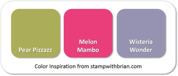 Stampin' Up! Color Inspiration: Pear Pizzazz, Melon Mambo, Wisteria Wonder