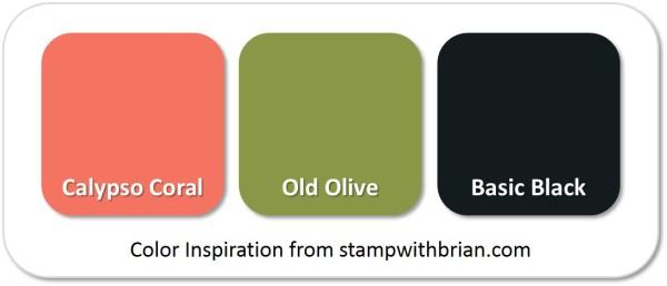 Stampin' Up! Color Inspiration: Calypso Coral, Old Olive, Basic Black