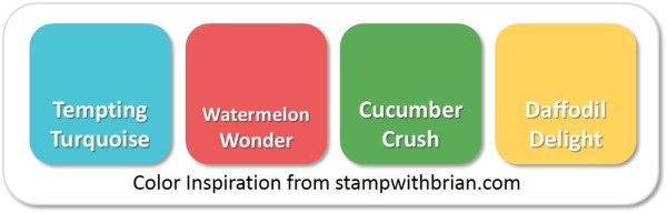 Stampin' Up! Color Inspiration: Tempting Turquoise, Watermelon Wonder, Cucumber Crush, Daffodil Delight