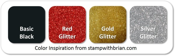 Stampin' Up! Color Inspiration: Basic Black, Red Glitter, Gold Glitter, Silver Glitter