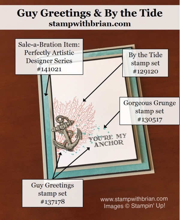 Guy Greetings, By the Tide, Gorgeous Grunge, Stampin' Up!, Brian King, CTS163, PP286
