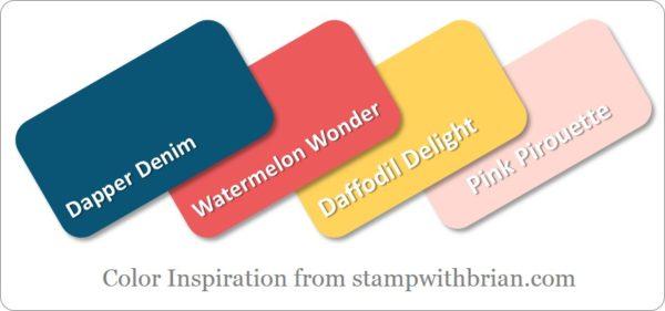 Stampin' Up! Color Inspiration: Dapper Denim, Watermelon Wonder, Daffodil Delight, Pink Pirouette