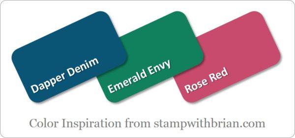 Stampin' Up! Color Inspiration: Dapper Denim, Emerald Envy, Rose Red
