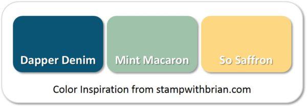 Dapper Denim, Mint Macaron, So Saffron