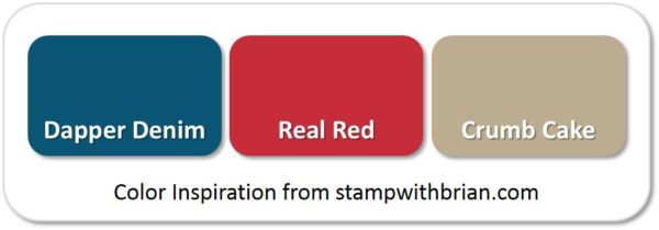 Stampin' Up! Color Inspiration: Dapper Denim, Real Red, Crumb Cake