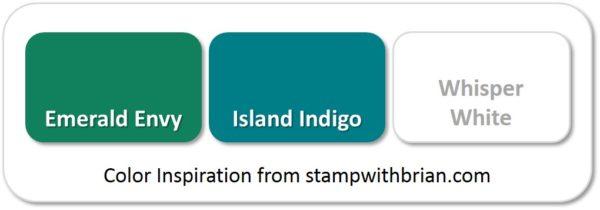 Stampin' Up! Color Inspiration: Emerald Envy, Island Indigo, Whisper White