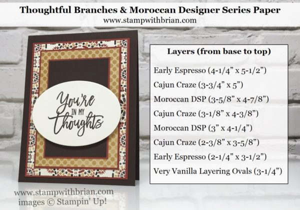 Thoughtful Branches, Moroccan Designer Series Paper, Stampin' Up!, Brian King, thinking of you card