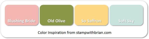 Stampin' Up! Color Inspiration: Blushing Bride, Old Olive, So Saffron, Soft Sky