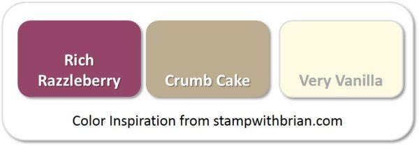 Stampin' Up! Color Inspiration: Rich Razzleberry, Crumb Cake, Very Vanilla
