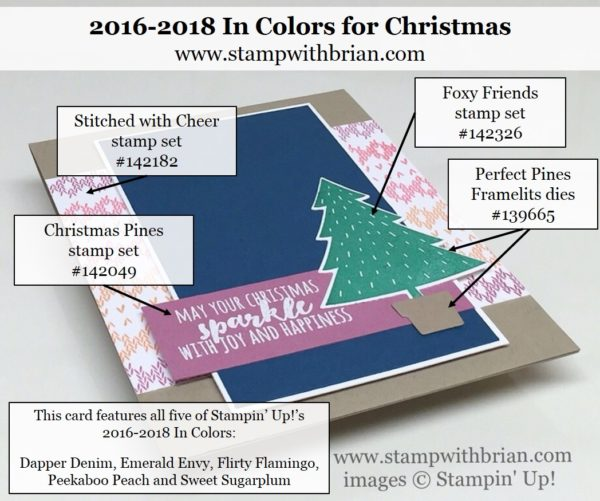 Foxy Friends, Christmas Pines, Stitched with Cheer, 2016-2018 In Colors, Stampin' Up!, Brian King, FabFri94, Christmas Card