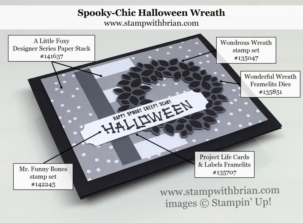 Mr. Funny Bones, Wondrous Wreath, Stampin' Up!, Brian King, Halloween card