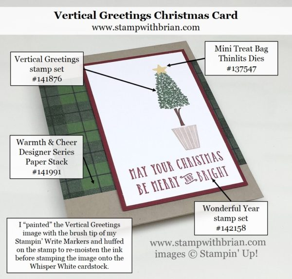Vertical Greetings, Wonderful Year, Stampin' Up!, Brian King, Christmas card 3