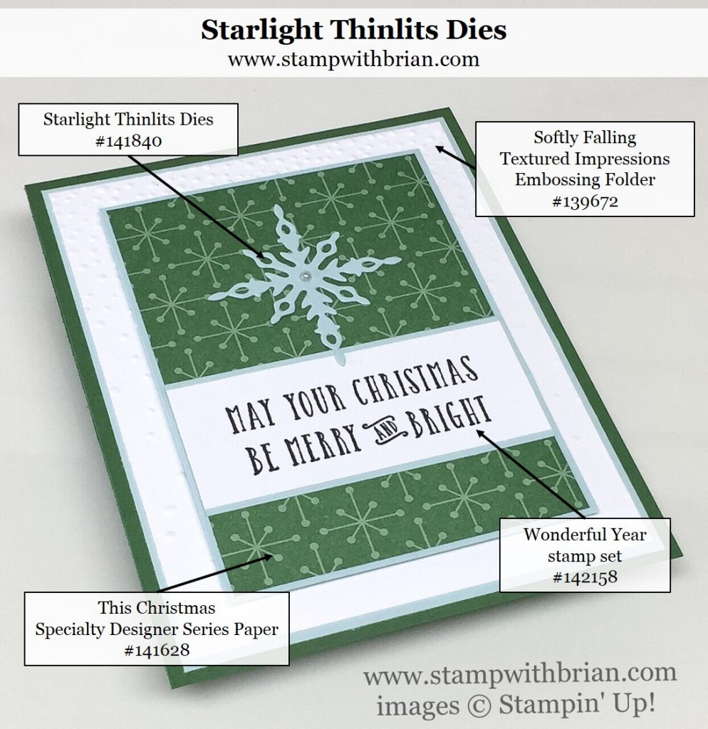 Wonderful Year, Starlight Thinlits Dies, Softly Falling Textured Impressions Embossing Folder, This Christmas Specialty Designer Series Paper, Stampin' Up!, Brian King