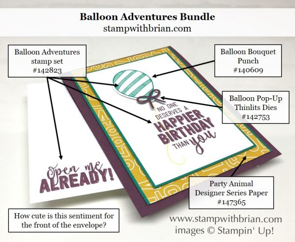 Balloon Adventures, Balloon Pop-Up Thinlits Dies, Stampin' Up!, Brian King, birthday card
