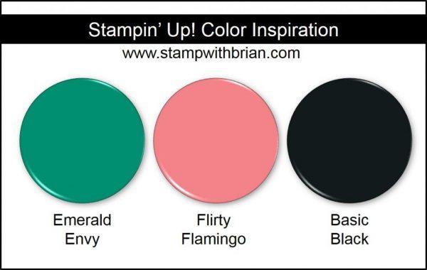 Stampin' Up! Color Inspiration: Emerald Envy, Flirty Flamingo, Basic Black