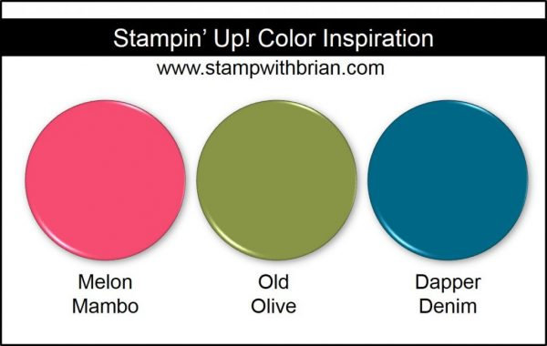 Stampin' Up! Color Inspiration: Melon Mambo, Old Olive, Dapper Denim