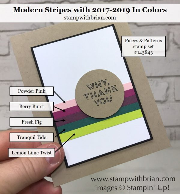 Pieces & Patterns, 2017-2019 In Colors, Stampin' Up!, Brian King, thank you card