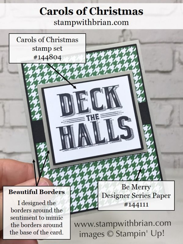 Carols of Christmas, Be Merry Designer Series Paper, Stampin' Up!, Brian King, Christmas card