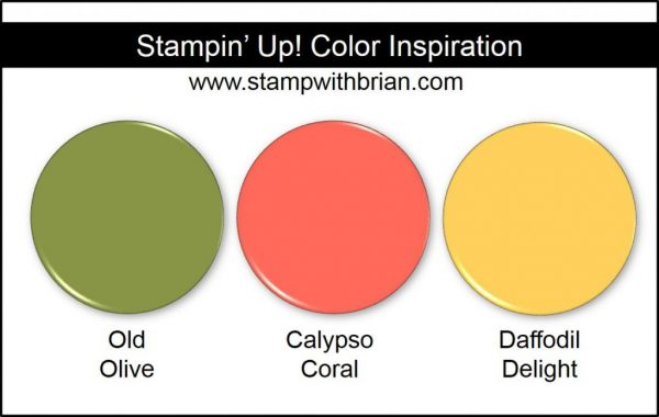Stampin' Up! Color Inspiration: Old Olive, Calypso Coral, Daffodil Delight