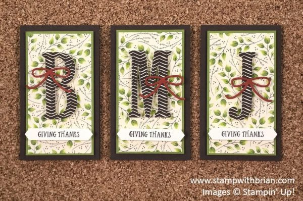Thanksgiving Seat Place Cards, Large Letters Framelits Dies, Stampin' Up!, Brian King