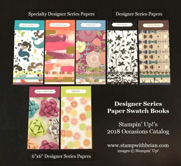 2018 Occasions Catalog Designer Series Paper Swatch Books, www.stampwithbrian.com