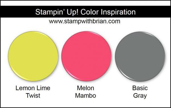 Stampin' Up! Color Inspiration: Lemon Lime Twist, Melon Mambo, Basic Gray