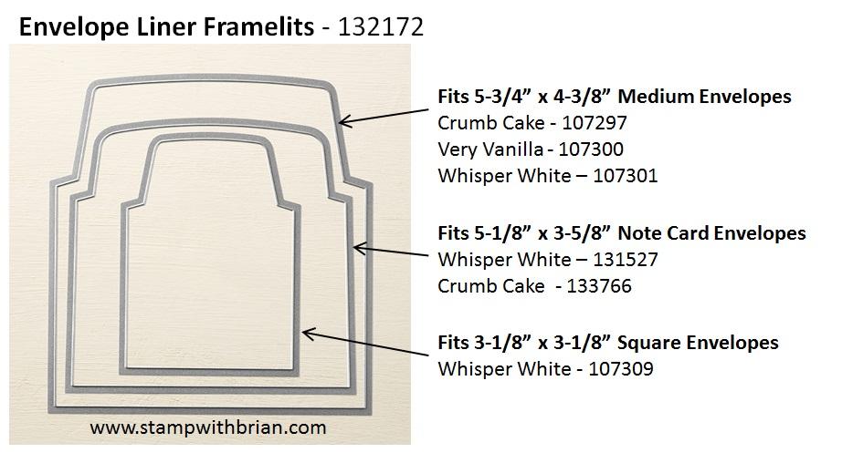 Envelope Liner Framelit sizes, Stampin' Up!, Brian King