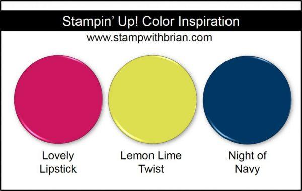Stampin' Up! Color Inspiration: Lovely Lipstick, Lemon Lime Twist, Night of Navy