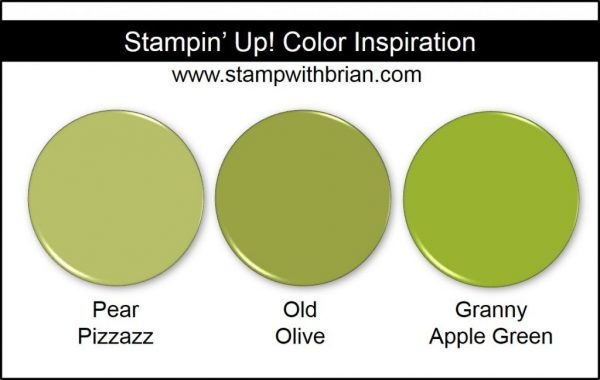Granny Apple Green Comparison, Stampin' Up! New Color: Pear Pizzazz, Old Olive